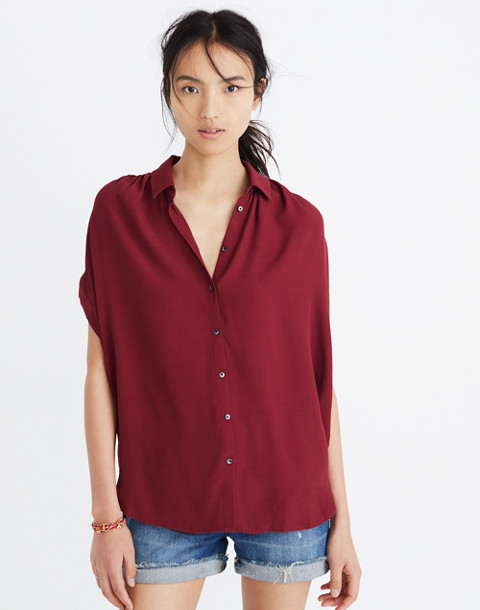 Central Drapey Shirt in dusty burgundy image 1