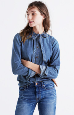 Denim Tie-Neck Shirt