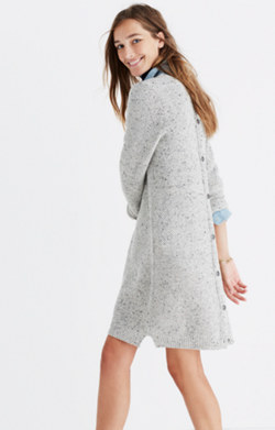 Button-Back Sweater-Dress in Donegal Grey