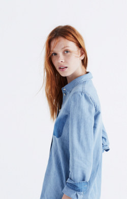 Denim Shrunken Ex-Boyfriend Shirt: Shadow-Pocket Edition