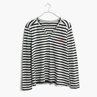 Embroidered Whisper Cotton Split-Neck Tee in Estelle Stripe