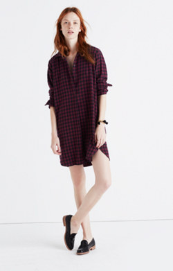 Flannel Side-Button Shirtdress in Jensen Plaid
