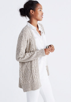Cableknit Cardigan Sweater