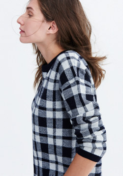 Plaid Button-Back Sweater