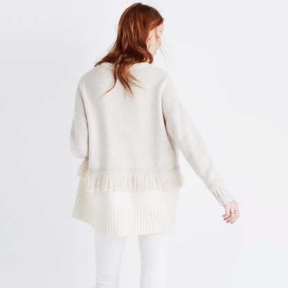 Colorblock Fringe Cardigan Sweater