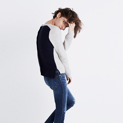 Backroad Button-Back Sweater in Colorblock