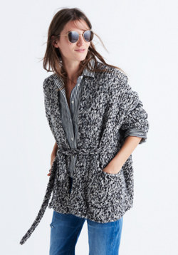 Marled Tie Cardigan Sweater