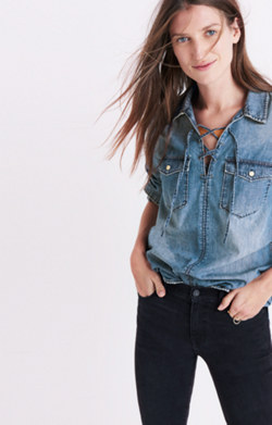 Denim Lace-Up Shirt in Chester Wash
