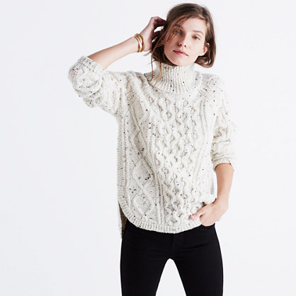 Cableknit Shirttail Turtleneck Sweater