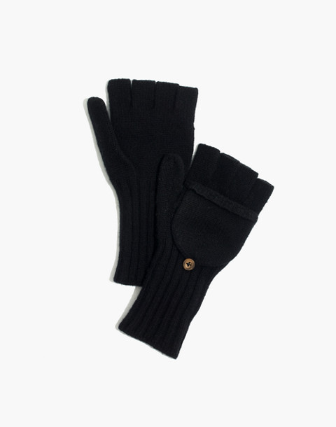 Convertible Ribbed Gloves in true black image 1