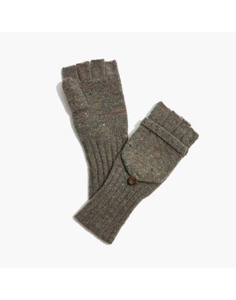 Convertible Ribbed Gloves in hthr charcoal image 1