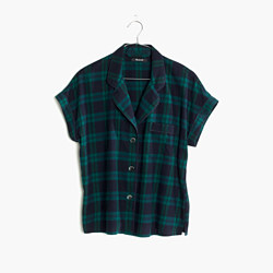 Flannel Bedtime Pajama Top in Dark Plaid
