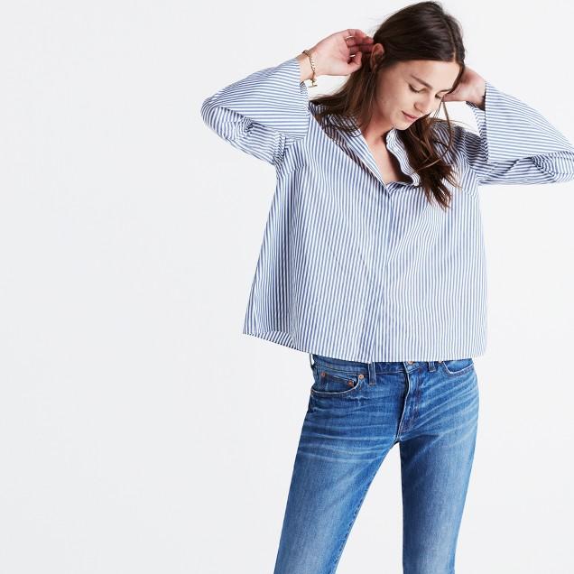 Bell Sleeve Shirt In Stripe Shopmadewell Button Up