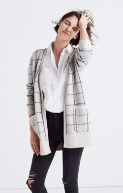 Ryder Cardigan Sweater in Bird's-Eye Windowpane