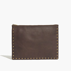 The Leather Pouch Clutch with Rivets