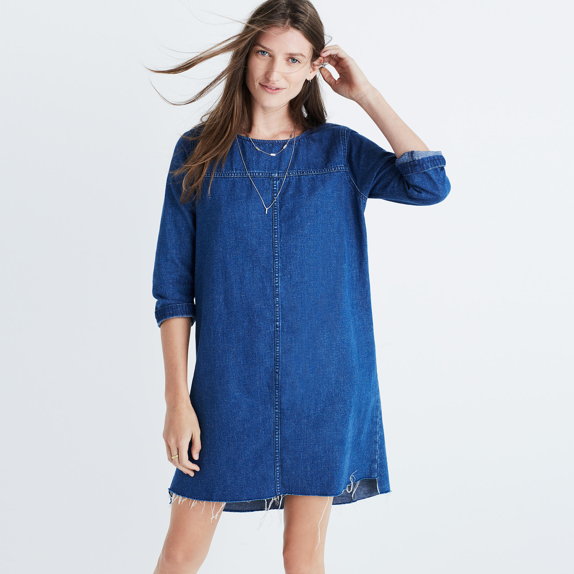 Denim Step Hem Dress shopmadewell more denim dressing