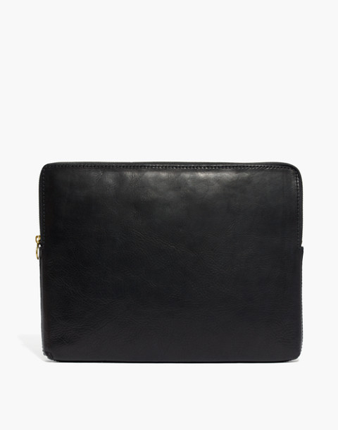 The Leather Laptop Case in true black image 1