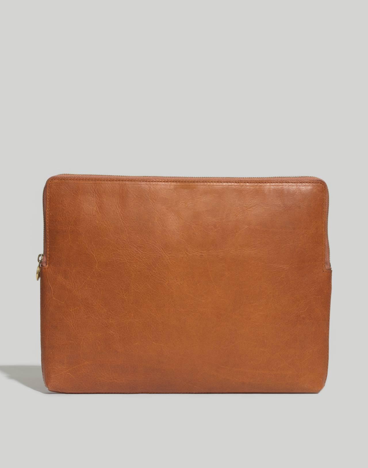 The Leather Laptop Case in english saddle image 1