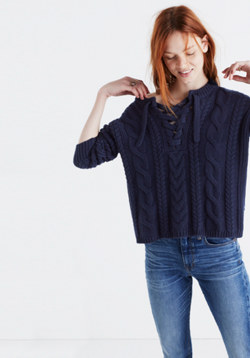 Lace-Up Pullover Sweater in Cableknit