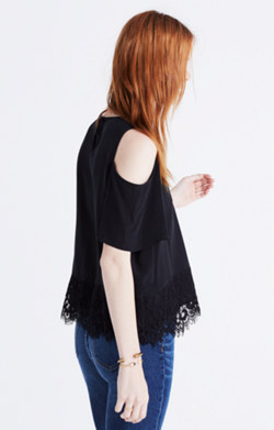 Lace-Edged Silk Cold-Shoulder Top