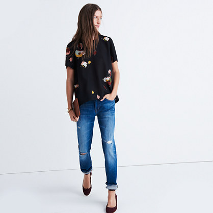 Silk Maison Button-Back Top in Painted Floral