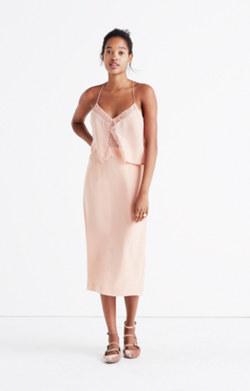 Silk Lowlight Lace-Inset Midi Dress