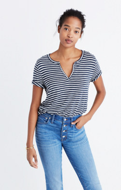 Anthem Split-Neck Tee in Adriatic Stripe