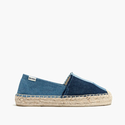 Soludos® Platform Smoking Slippers in Patchwork Denim