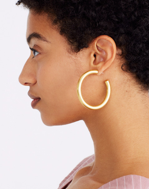 Chunky Oversized Hoop Earrings in vintage gold image 2