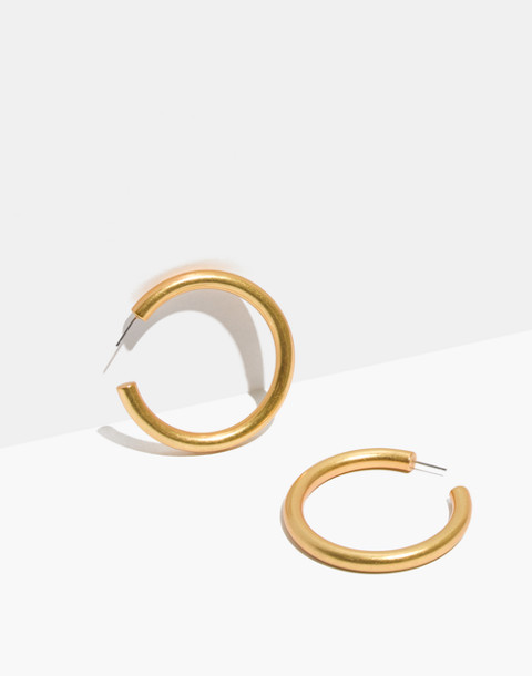 Chunky Oversized Hoop Earrings in vintage gold image 1