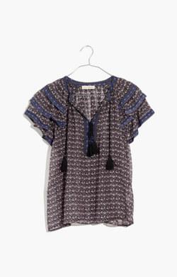 Ulla Johnson™ Silk Ruffle-Sleeve Print Top