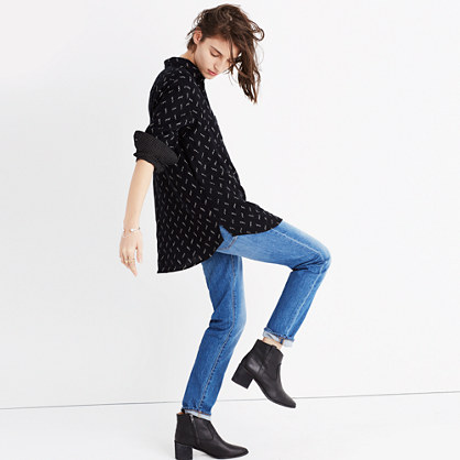 Oversized Ex-Boyfriend Shirt in Zigzag Ikat