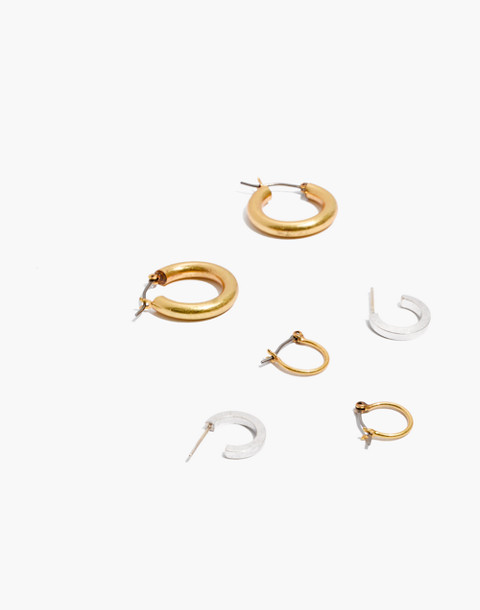 Three-Pack Hoop Earring Set in mixed metal image 1