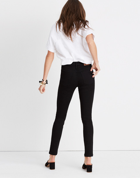 "Petite 9"" High-Rise Skinny Jeans in ISKO Stay Black™ in black frost image 3"