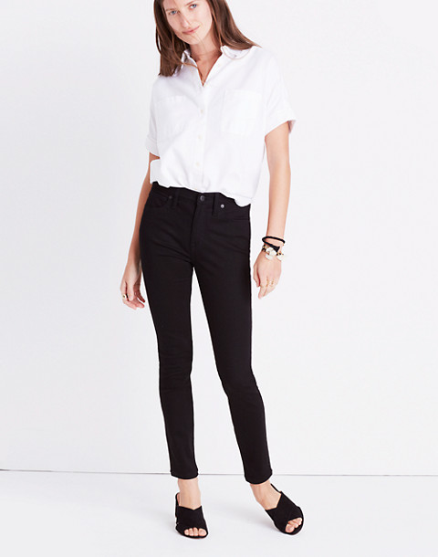 "Petite 9"" High-Rise Skinny Jeans in ISKO Stay Black™ in black frost image 1"