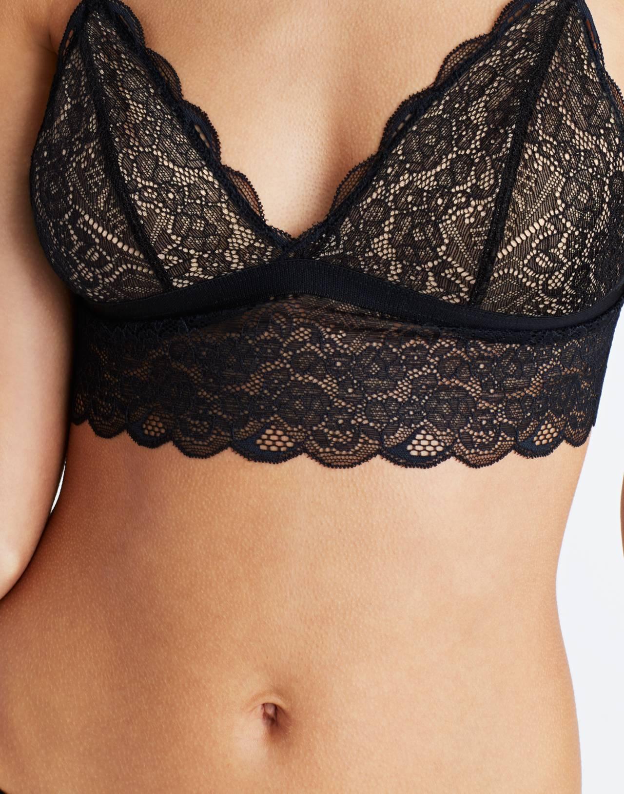 Lace Liana Longline Bralette in true black image 3