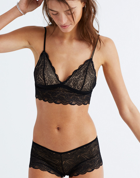 Lace Liana Longline Bralette in true black image 1
