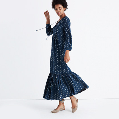Silk Medallion Dot Maxi Dress