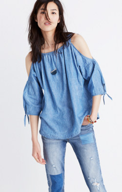 Indigo Cold-Shoulder Top