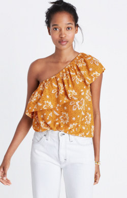 Silk One-Shoulder Top in Assam Floral