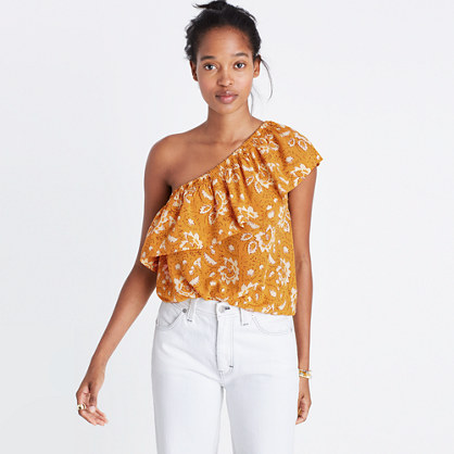 Silk One-Shoulder Top in Assam Floral