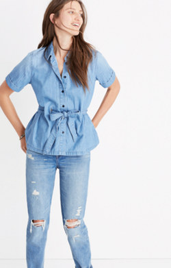 Denim Tie-Waist Shirt