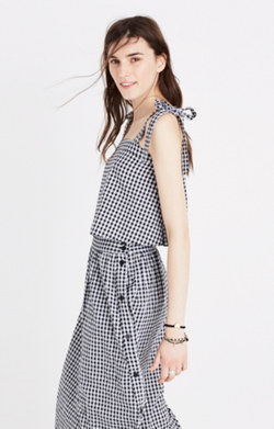 Tie-Strap Tank Top in Gingham Check