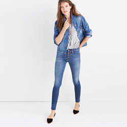 """Taller 9"""" High-Rise Skinny Jeans: Button-Through Edition"""