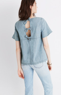Chambray Tie-Back Top