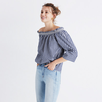 Smocked Gingham Off-the-Shoulder Top