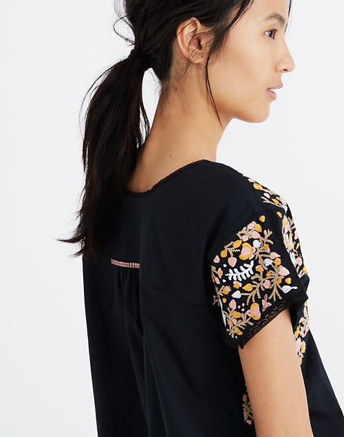 39e59819494 Embroidered Springtime Top in True Black in null image 2