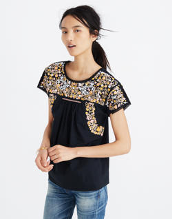 Embroidered Springtime Top in True Black