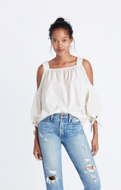 Cold-Shoulder Top in White Wash