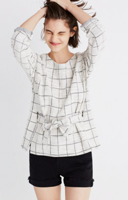 Windowpane Tie-Front Top